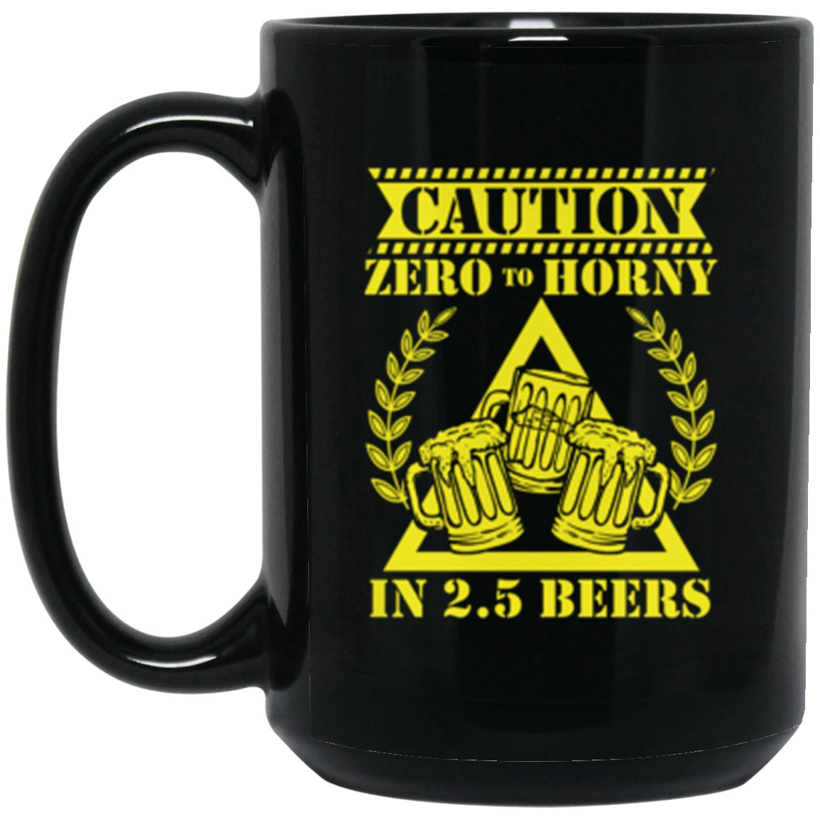 Drinkware - 2.5 Beers Black Mug 15oz (2-sided)