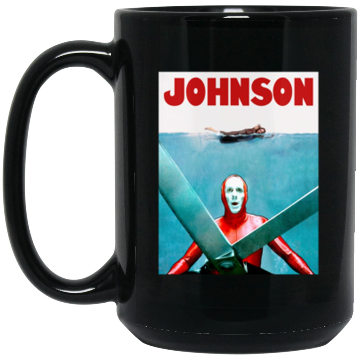 Drinkware - JAWS JOHNSON Black Mug 15oz (2-sided)