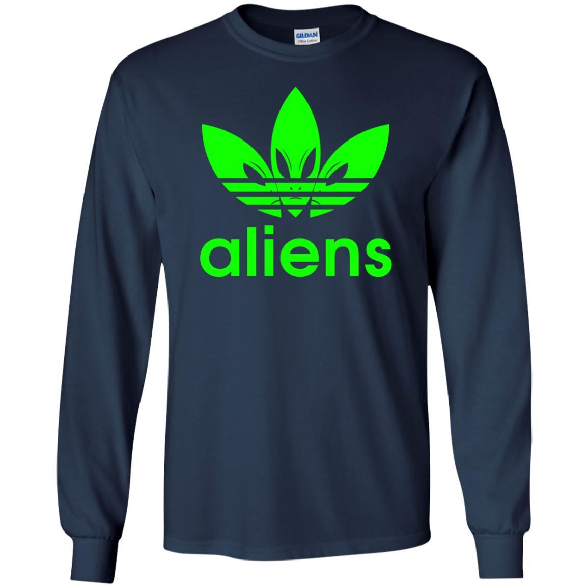 T-Shirts - Green Aliens (not Adidas) Long Sleeve