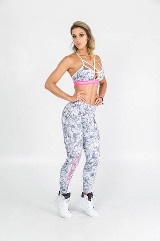 Legging SuperSarada Ice BW Flowers SRD 20052 - SuperSarada Moda Fitness