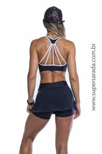 Short Saia SuperSarada Fenda Frontal  7003-6 - SuperSarada Moda Fitness - Roupas para Academia