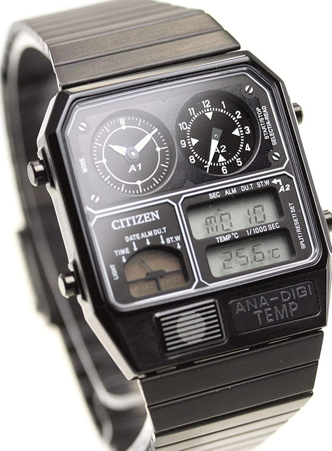 CITIZEN ANA-DIGI TEMP Reproduction Model Watch Black JG2105-93E
