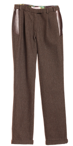 Wool Trousers With Leather Detail