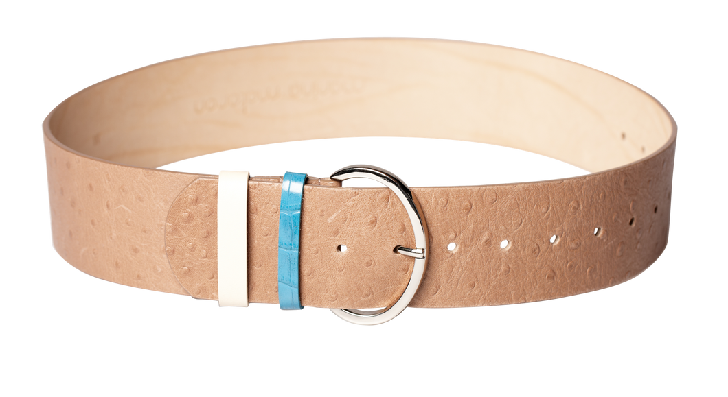 Beige Wide Leather Belt