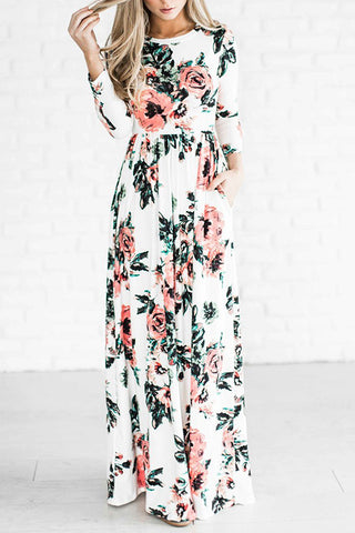 Floral Print Seven Sleeves Maxi Dress