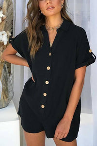 Button Short Sleeve Romper