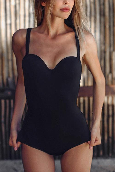 Solid One-piece Swimwear
