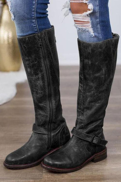 Zipper Low Heel High Heel Boots