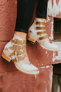 Strap Bandage Chunky Heel Oxford Boots