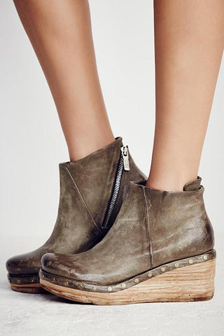 Zipper Ankle Wedges Boots