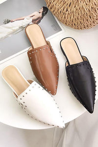 Rivet Point Toe Mules Flats