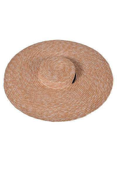 Flat Ribbon Straw Wide Brim Hat
