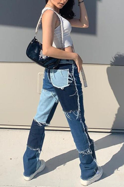 Color Block Patchwork Jeans