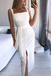 Sleeveless Slit Skinny Dress