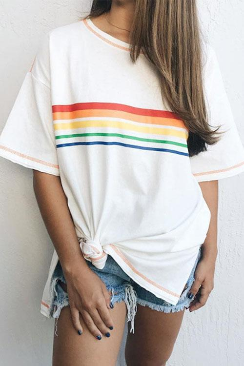 Rainbow Striped Loose T Shirt