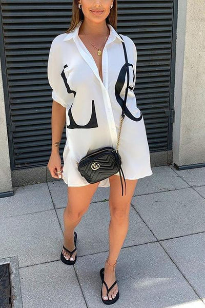 Letter Print Shirt Mini Dress