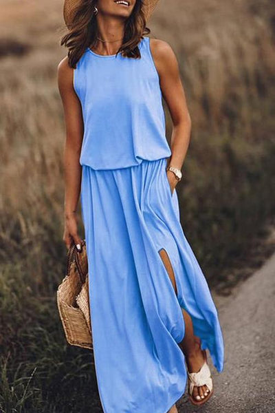 Pockets O Neck Sleeveless Slit Maxi Dress