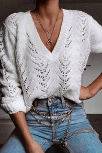 Hollow V Neck Sweater
