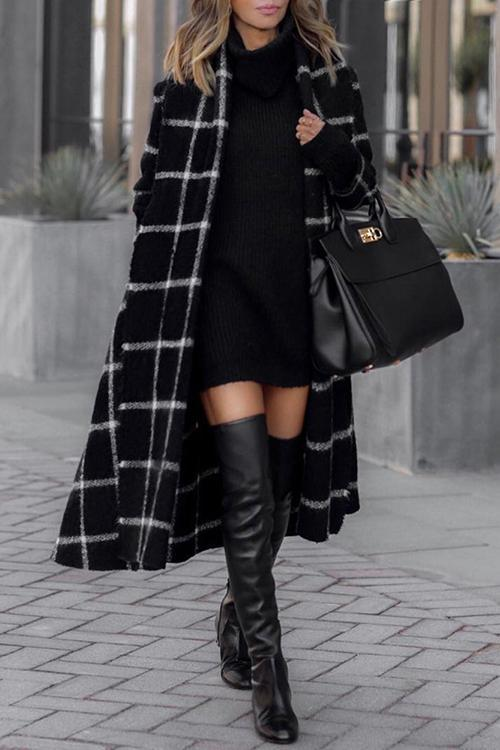 Pockets Plaid Long Hoodie Coat