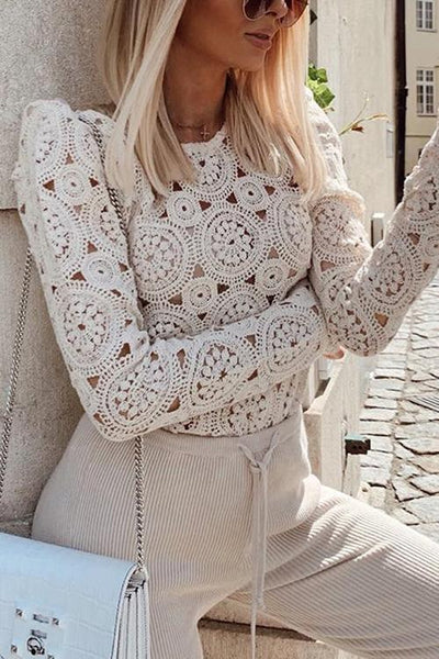Hollow Crochet Long Sleeve Shirt