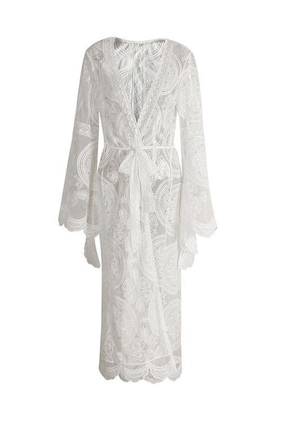 Flares Sleeve Lace Long Cover Up With Belted