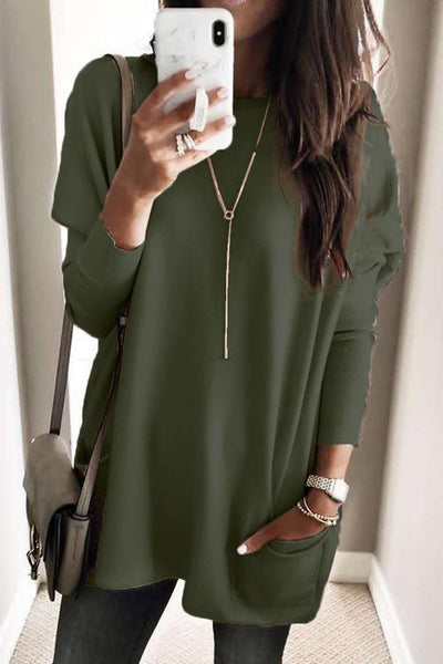 Pockets Long Sleeve Loose T Shirt