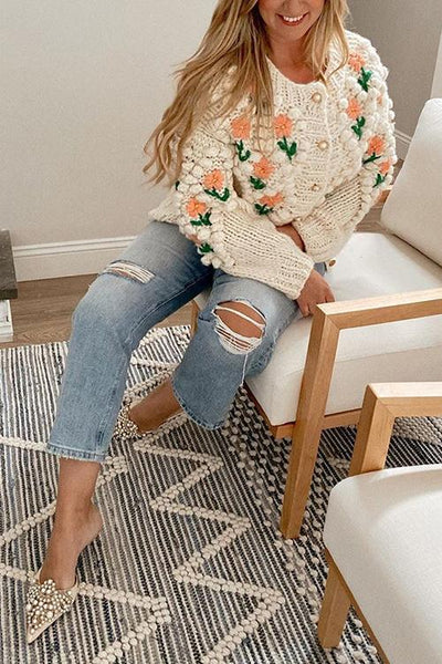 Floral Pearl Button Cardigan