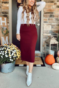 Knit Slit Bodycon Skirts
