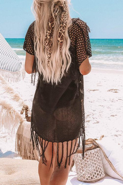 Hollow Tassels Cover Dress