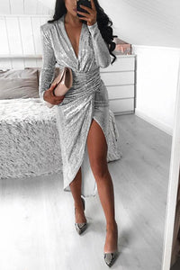 Sparkling V Neck Slit Long Sleeve Dress