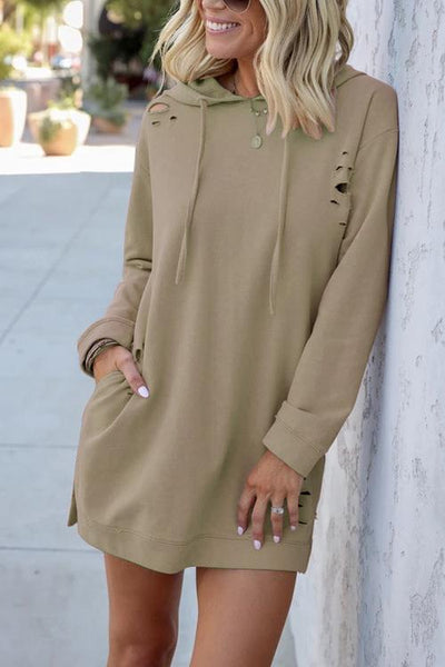 Ripped Pockets Drawstring Hoodie Dress