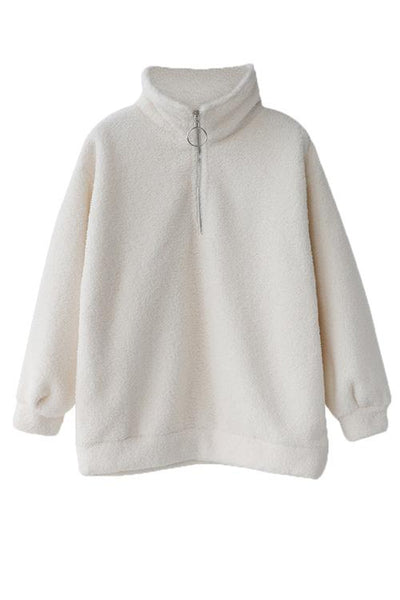 Fluffy Fleece High Collar Zipper Hoodie