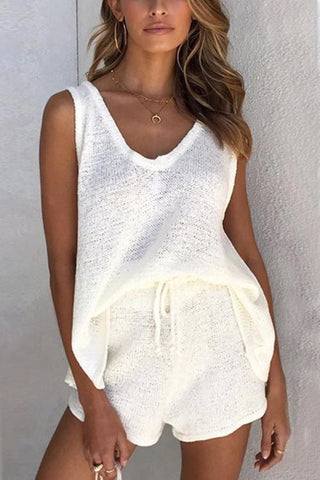 V Neck Sleeveless Tank Shorts Set