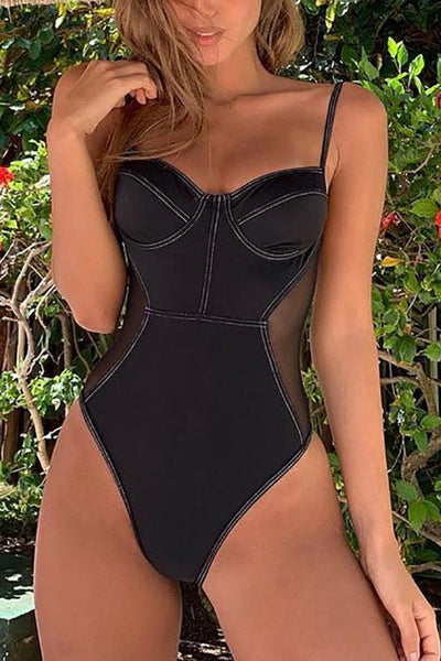 Mesh Patchwork One Piece Swimwear