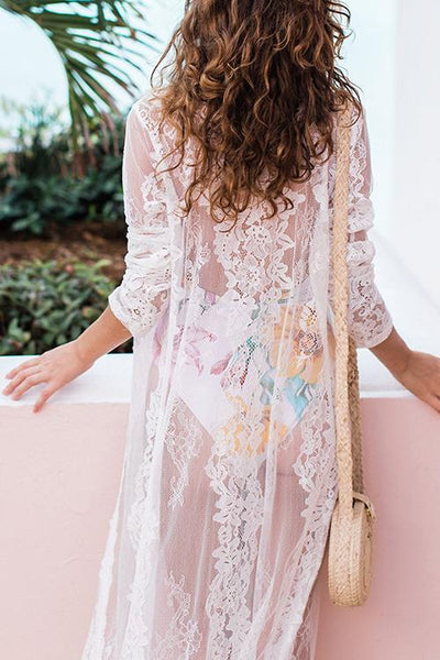 Lace See Though Long Sleeve Cardigan