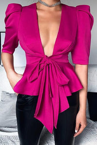 V Neck Bow Tie Half Sleeve Top