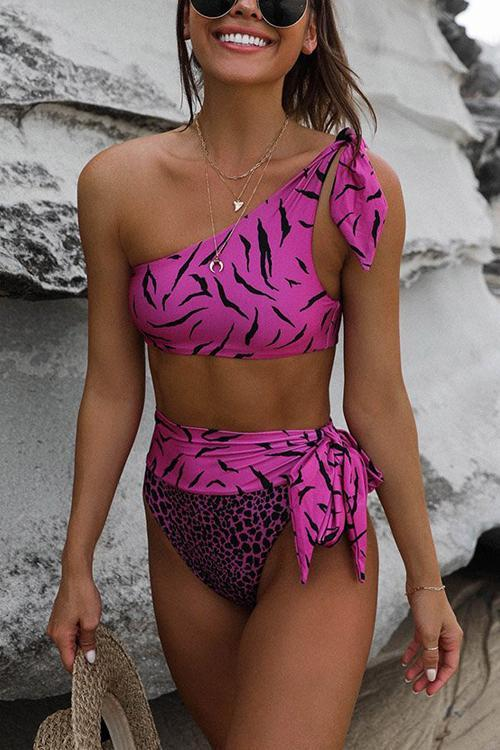 Leopard Bowtie One Shoulder Bikini Set