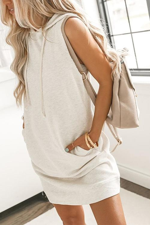 Pockets Drawstring Sleeveless Hoodie Dress