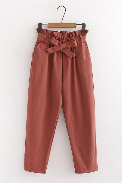 Pockets Belted Straight-leg Pants