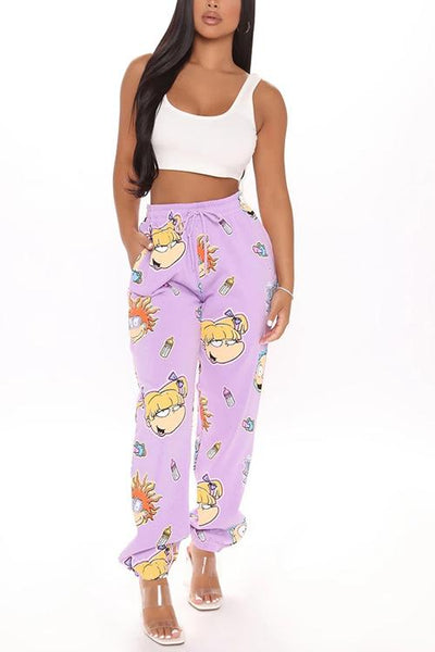 Cartoon Print Drawstring Sweaterpants