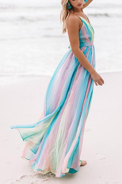 V Neck Backless Maxi Dress