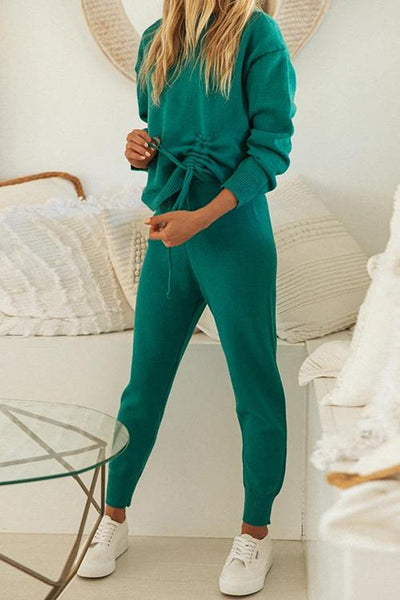 Side Drawstring Knit Pants Set