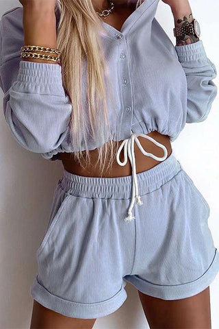 Button Drawstring Crop Hoodie Shorts Set