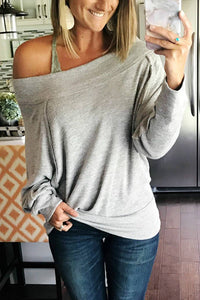 Off Shoulder Long Sleeve Hoodie