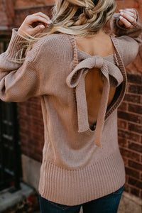 Lantern Sleeve Backless Bow Tie Knit Sweater