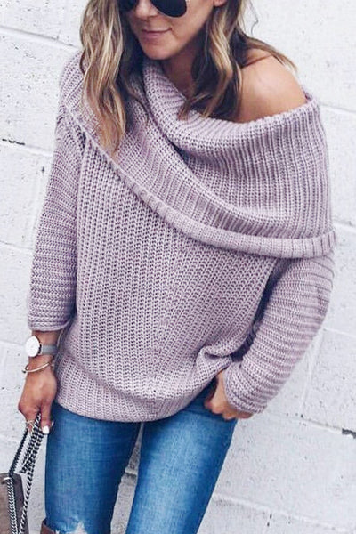 One Shoulder Fold-Over Knitted Sweater