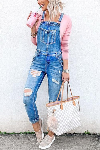 Pockets Ripped Denim Jumpsuit