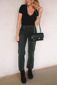 Rigid High Waisted Wide Leg Jeans
