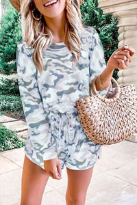 Camouflage Print Drawstring Romper