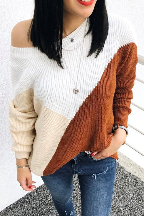 Color Block One Shoulder Sweater